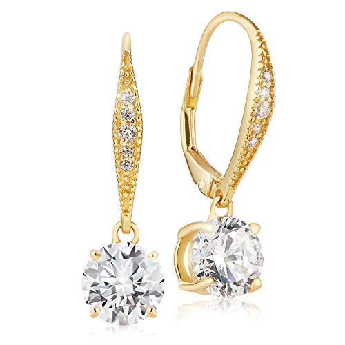 Lusoro 925 Sterling Silver Gold Plated Round AAA Cubic Zirconia Pave Leverback Dangle Earrings