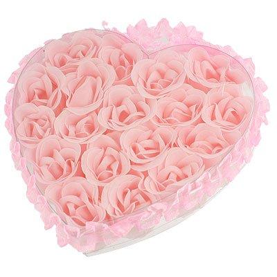 SODIAL(R) Light Pink Pleated Hem Heart Gift Box Bath Soap Flower Petal 18 in 1