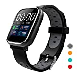 7. CRATEC W5 Fitness Tracker Heart Rate Sleep Monitor Blood Pressure Waterproof Smart Watch, Long Battery Life Bluetooth Activity Tracker, Large Screen Sports Band for Men Women and Kids (Gray)
