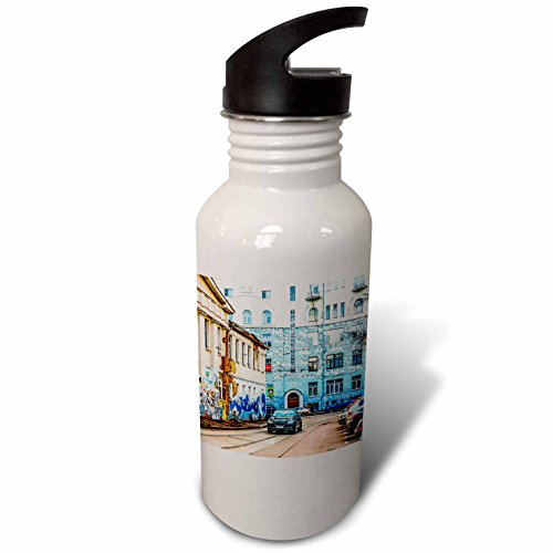 3dRose Alexis Photography - Moscow City - Moscow city - Murals of the past and present days - Flip Straw 21oz Water Bottle (wb_271290_2) -
