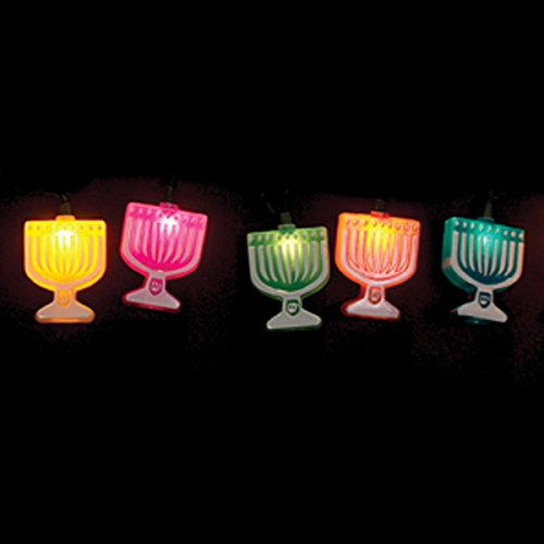 Judaica Mega Mall Hanukkah Decorative Lights, Impressive Colorful 10FT Chanukah Menorah String Lights, LED Fairy Lights for Jewish Hanukkah, Wedding, Window, Living Room and Bedroom Decoration Lights