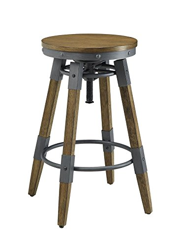 Scott Living Hornell Collection Height Adjustable Industrial Bar Stool in Weathered ()