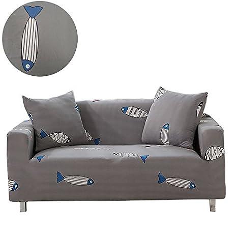 Moving Garden, Copri divano in tessuto elastico, motivo floreale con uccelli, protezione da animali per poltrona, divano, Fish, 1 posto