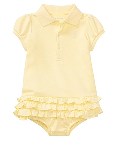 (RALPH LAUREN Baby Girl Ruffled Polo Dress & Bloomer Set (24 Months, Wicket Yellow) )