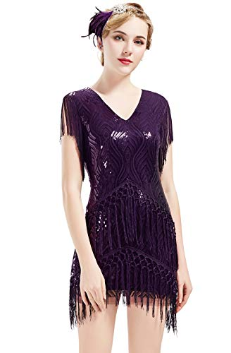 BABEYOND 1920s Flapper Dress Long Fringed Gatsby Dress Roaring 20s Sequins Beaded Dress Vintage Art Deco Dress (Purple, XXXL) ()