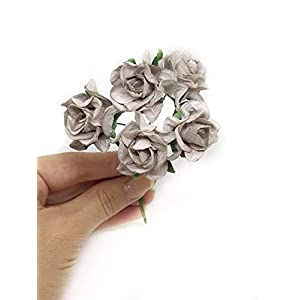 3.5cm Grey Mulberry Paper Rose Flowers with Wire Stems DIY Wedding Favor Decor Paper Bouquet Artificial Flowers Crafts Home Decorations, 25 Pieces 4