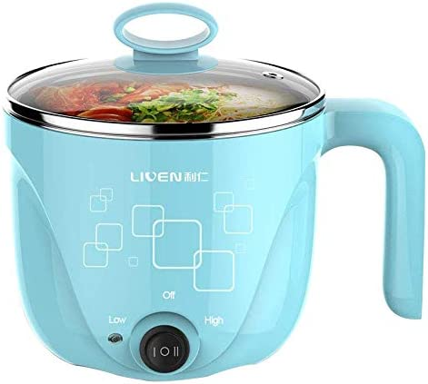 1L LIVEN Electric Hot Pot with 304 Stainless Steel Healthy Inner Pot, Cook noodles and boil eggs easy,Small Electric Cooker 600W 120V HG-X1000BL 41KI9qIlCOL