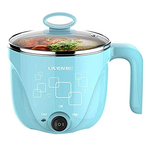 1L Liven Electric Hot Pot with 304 Stainless Steel Healthy Inner Pot, Cook Noodles and Boil Water Eggs Easy,Small Electric Cooker 600W 120V HG-X1000BL