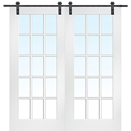 National Door Company Z009624 Primed MDF 15 Lite True Divided Clear Glass 72'' x 80'', Barn Door Unit by National Door Company