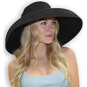 6fd6a892 sungrubbies Chloe Wide Brim Black Derby Hat for Women Fancy Straw Hat  Tiffany Style from