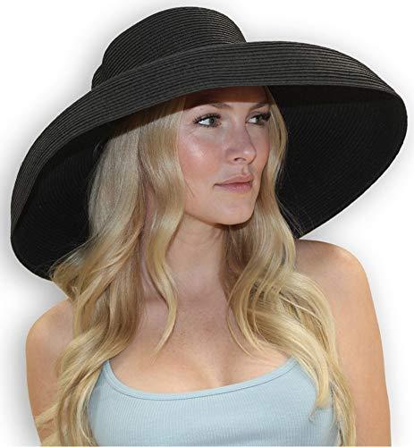Chloe Wide Brim Derby Hat Women's Dress Sun Hat Fancy Tiffany Style (Large, Black)