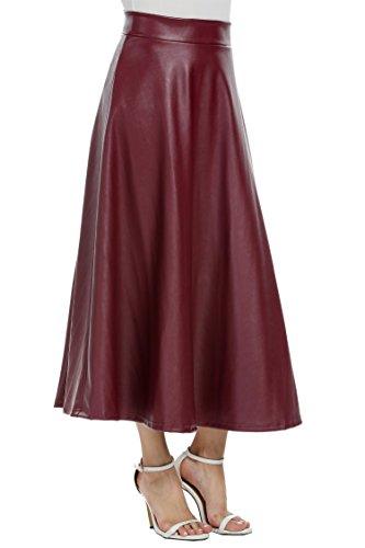 Leoneva Women's Vintage High Waist A-Line PU Leather Long Midi Skirt(Wine Red, XL)