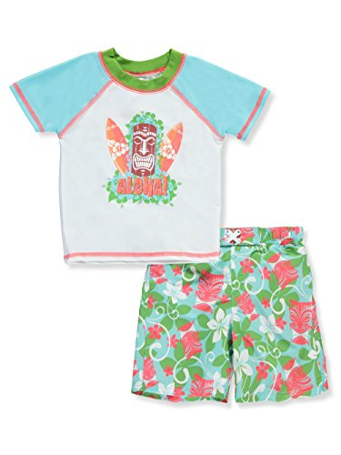 Sol Swim Little Boys Multi Color Two-Piece Aloha Tiki Rash-Guard Swim Set (24 Months)
