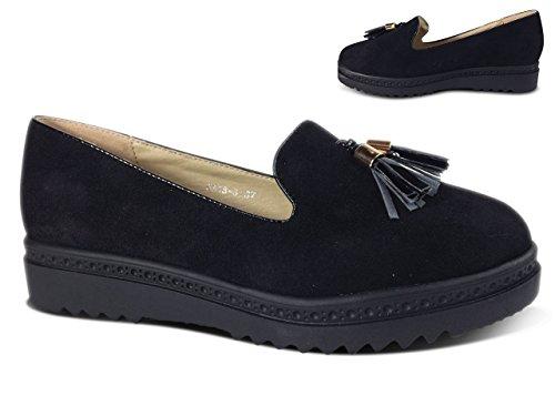 Schuhtraum Damen Slipper Plateau Sneakers Ballerinas Glitzer Nieten ST551 Schwarz Quaste-N