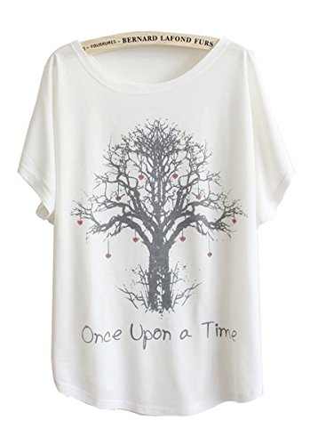 Cotton Printed White T shirt Batwing Sleeve 'Once upon a time' for size 4 6