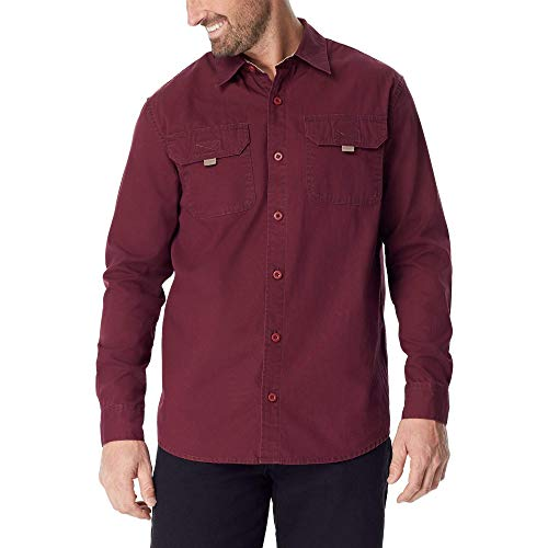 Wrangler Authentics Men's Long Sleeve Canvas Shirt, tawny port, L