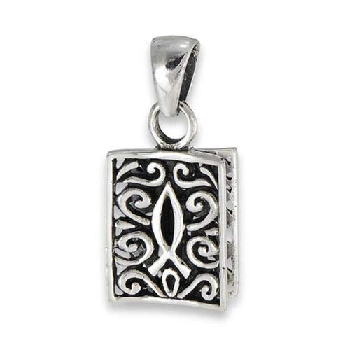 (Filigree Icthus Pendant .925 Sterling Silver Ornate Religious Scroll Fish Charm)