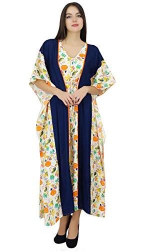 Bimba Des Femmes De Longue Collection Pannel Caftan Caftan Couvrir Robe De Nuit Robe Blanc Cassé