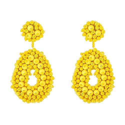 (Statement Bead Earrings for Women Fashion - Lightweight Drop Dangle Earrings - Gift for Sister, Wife, Mother or Daily Wear (Yellow Drop Bead Earrings))