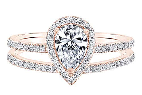 - 0.38 Carat Pear & Round Shape White Natural Diamond Semi Mount Wedding Ring Set 18K Solid Rose Gold Ring Size-5.5