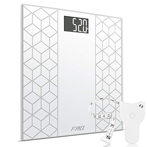Digital Body Weight Bathroom Scale, FXQ High Precision Sensor Digital Bathroom Scale with Large Blue LCD Backlight Display, 8MM Shatter-Resistant Tempered Glass and Body Measuring Tape, White