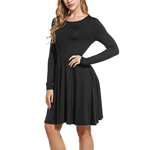 Meaneor Women s Elegant Solid Long Sleeve Scoop Neck Fit and Flare Mini  Dress hot sale 2017 4637e6717