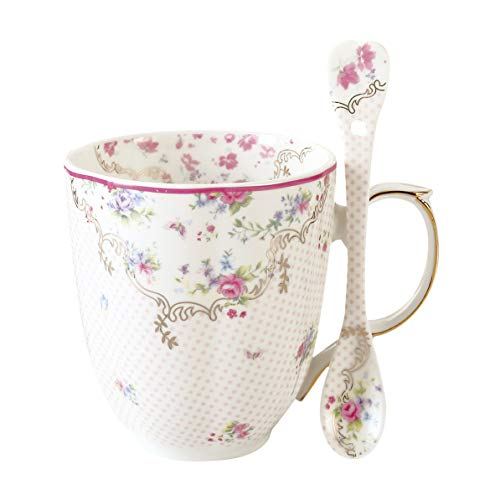 Coffee Mug with Spoon Set Bone China Vintage Rose Tea Cup 12 Oz for Specialty Coffee Drinks, Latte, Cafe Mocha and Tea, Unique Gift for Women, Girlfriends, Anniversary, Birthday and Holiday (Pink)