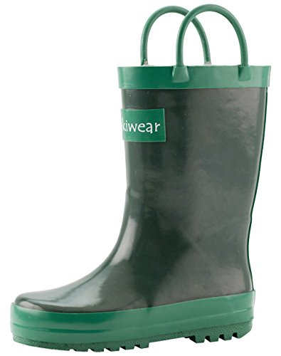 - OAKI Kids Rubber Rain Boots with Easy-On Handles, Nature Green, 12T US Toddler