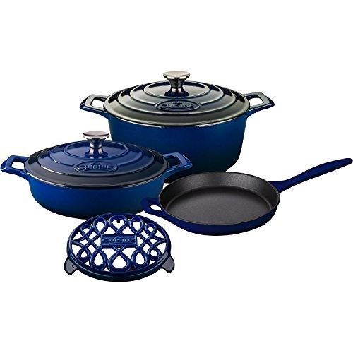 La Cuisine LC 2870MB 6 Piece Pro Enameled Cast Iron Round Casserole/Trivet Cookware Set, Ultramarine Blue