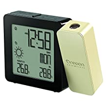 Oregon Scientific Weather Forecaster, Dual Alarm, Indoor-Outdoor Thermo Projection Atomic Clock, Black and Cream