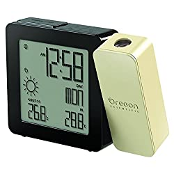 Oregon Scientific BAR368PA Weather Forecaster, Dual Alarm, Indoor-Outdoor Thermo Projection Atomic Clock, Black and Cream