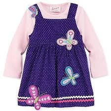 Baby-girls Soft Corduroy Embroidered Dress Jumper Purple and Pink 3T By Samara