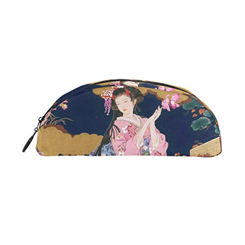 MUOOUM Awesome Japanese Geisha Girl Pencil Case Semicircle Stationery Pen Bag Pouch Holder for School Office Supplies