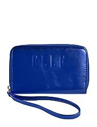 ELLE Faux Leather Zip-Around Blue Wallet, Under Seat