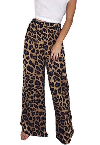 FLOYO Leopard Print Pants for Women High Waist Palazzo Wide Leg Pant Casual Trouser Size S (US 2-4) (Leopard)