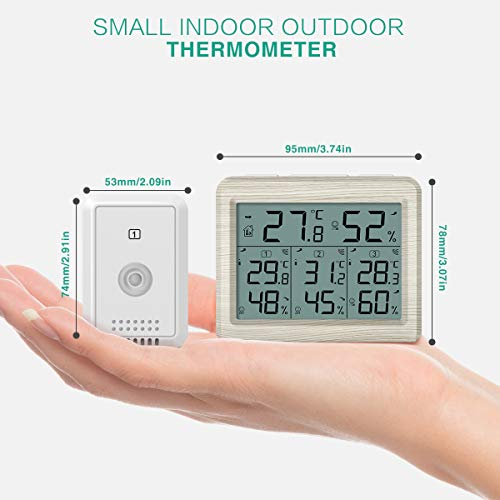 ORIA Indoor Outdoor Thermometer with 3 Wireless Sensors, Digital Hygrometer Thermometer, Temperature Humidity Monitor Meter with LCD Backlight, Wireless Thermometer for Home, Office, Bedroom, Gray