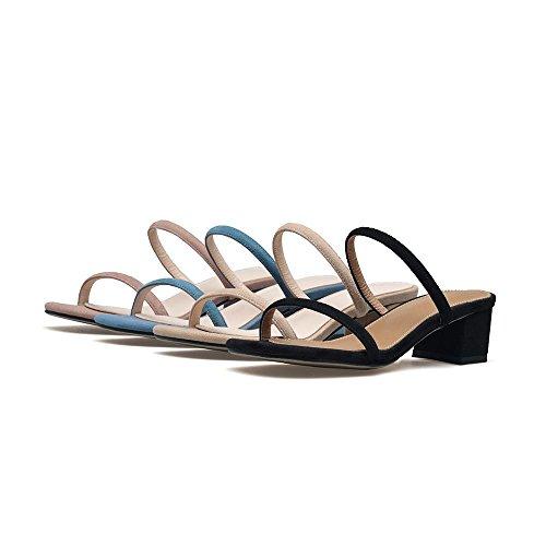 GJDE Mujer Tacón Robusto Talón de bloque Zapatos del Club Sandalias Vestido Fiesta y Noche PU Zapatos de Ocio apricot
