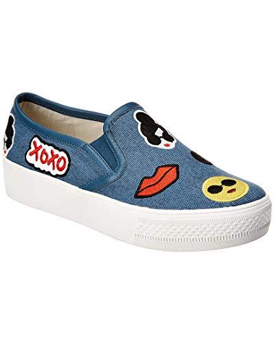 alice + olivia Women's Pia Emoji Slip On Sneakers, Light Blue, 38.5 EU (8.5 B(M) US Women)