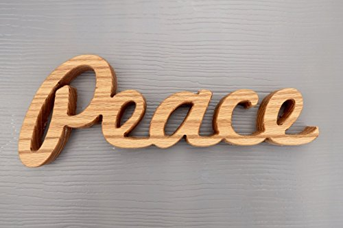 wooden peace sign shelf sitter word art oak wood -