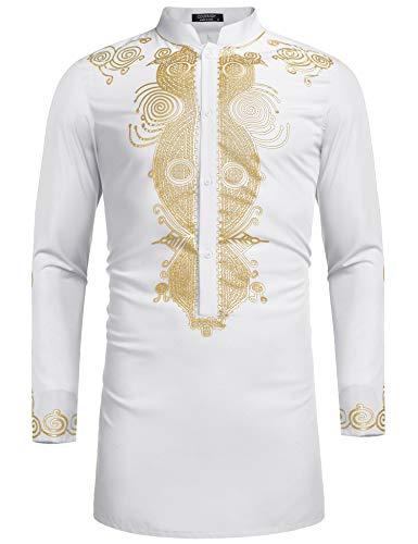 Luxury Wear Fashion - COOFANDY Men's African Dashiki Luxury Metallic Floral Mandarin Mid Long Shirt (S, White)