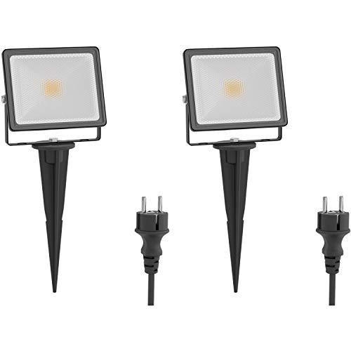 ledscom.de LED-spot FLIN met aardpennen & stekkers, buiten, spot, zwart, IP66 waterdicht, 10W 800lm warmwit, 2 stuks.