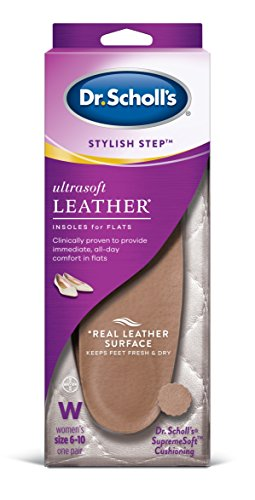 Dr. Scholl's Ultrasoft Leather Insoles for Flats (Women's 6-10) // All-Day Comfort with Massaging Gel plus a Real Leather Surface