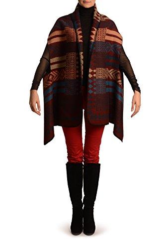 Peach, Beige & Blue Aztec On Boudreaux Blanket Wrap (Poncho) - Poncho - Rojo Poncho moda Talla unica - 66cm x 184cm