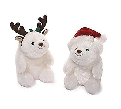 """Gund Holiday Snuffles Set Santa and Reindeer Teddy Bears 5"""""""