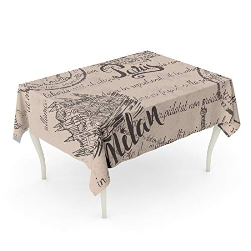 Semtomn Rectangle Tablecloth Faded Text Stamps Eiffel Tower Lettering Paris Milan Cathedral 52 x 70 Inch Home Decorative Waterproof Oil-Proof Printed Table Cloth