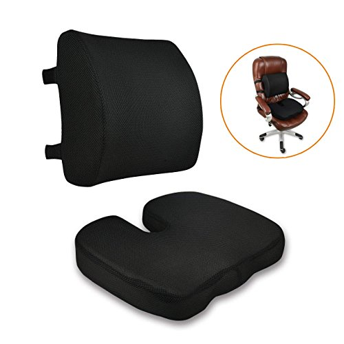 Orthopedic Office Chair Memory Foam Lumbar Support & Coccyx Seat Cushion with Adjustable Dual Strap, Handle, Removable Mesh Cover for Wheelchair, Car Seat, Pregnancy, Tailbone Pain Relief, Black by CompuClever