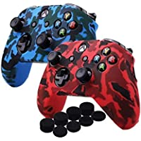 Water Transfer Printing Camouflage Silicone Cover Skin Case for Microsoft Xbox One X & Xbox One S controller x 2(red&blue) With PRO thumb grips x 8