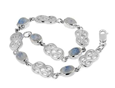 Sterling Silver Genuine Rainbow Moonstone Celtic Knot 7 Link Bracelet