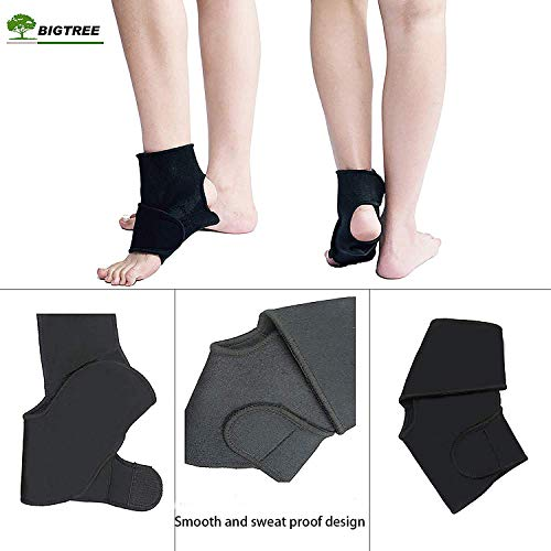 BIGTREE Neoprene Ankle Joint Support, Plantar Fasciitis Arch Support, Running Basketball Ankle Sprain Relieves Swelling, Stable Wrap Protector for Men Women