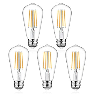 Defurhome LED Edison Bulbs, 60W Equivalent, 700Lumens, Warm White 2700K, 6W ST58 LED Filament Light Bulbs, Antique Style Lighting, E26 Medium Base, Non Dimmable - Pack of 5